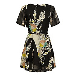 Yumi - Black Oriental Floral Print Day Dress
