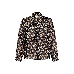 Yumi - Black Peace Bird Print Pussybow Blouse