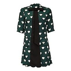 Yumi - Green Heart Print Pussybow Tunic Dress
