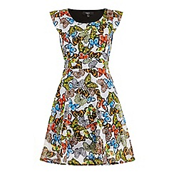 Iska - Multicoloured Butterfly Print Cap Sleeve Day Dress
