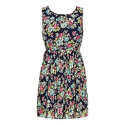 Iska - Blue Vintage Floral Print Day Dress