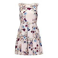 Iska - Cream Floral Print Pleated Dress