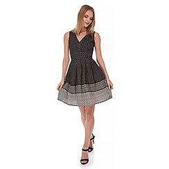 Yumi - Black Monochrome Print Midi Dress