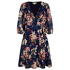 Yumi - Navy Antique Rose Print Wrap Dress