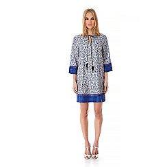 Iska - Blue Tapestry Print Feather Tie Kaftan Dress