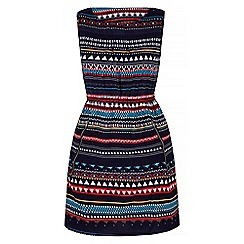 Yumi - Blue Bright Aztec Print Shift Dress