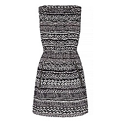 Yumi - Black Monochrome Aztec Print Shift Dress