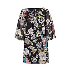 Iska - Black Floral and Bird Print Tunic Dress