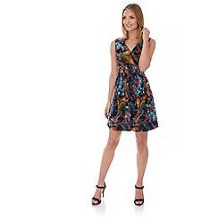 Yumi - Multicoloured  Tropical Bird Print Skater Dress