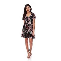 Yumi - Black Black Cherry Blossom Print Tea Dress