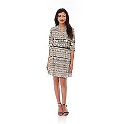Yumi - Black Aztec Print Belted Dress