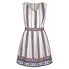 Iska - Cream Motif Stripe Print Skater Dress