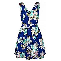 Iska - Blue Tropical Floral Print Skater Dress