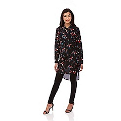 Yumi - Black Butterfly Print Shirt Dress