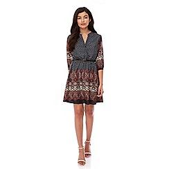 Yumi - Black Tapestry Print Kaftan Dress
