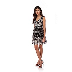Yumi - Black Floral Polka Dot Print Skater Dress