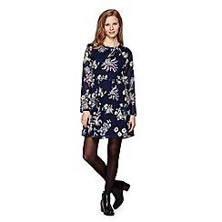 Yumi - Blue Flower Print Long Sleeve Dress