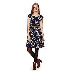Yumi - Blue Belted Dress With Butterfly Print