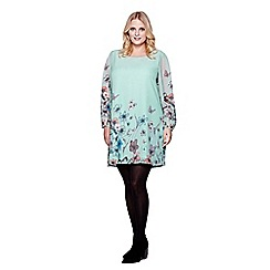 Yumi Curves - Green Yumi Curves Butterfly Printed Tunic Dress