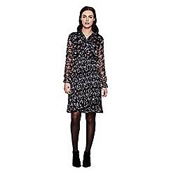 Yumi - Black Floral Printed Long Sleeve Dress