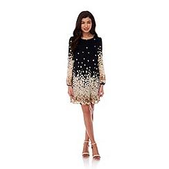 Yumi - Black Floral Print Tunic Dress