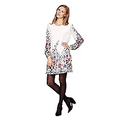 Yumi - White Floral Printed Tunic Dress