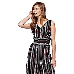 Yumi - Black Striped Sleeveless Jumpsuit