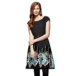 Yumi - Black Floral Spot Belt Dress