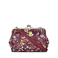 Yumi - Red Leather Look Floral Shoulder Bag