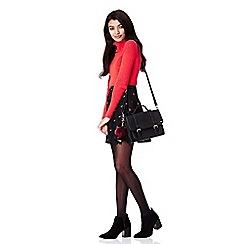 Yumi - Black Pom Pom Satchel Bag