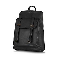 Yumi - Black front pocket strap backpack