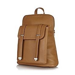 Yumi - Tan front pocket strap backpack