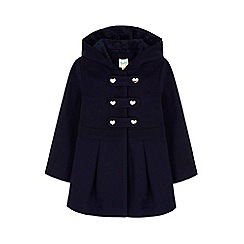 Yumi Girl - blue Hooded Peplum Duffle Coat