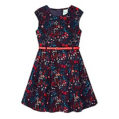 Yumi Girl - blue Ditsy Flower Corduroy Dress
