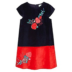 Yumi Girl - blue Velvet Shift Dress With Floral Embellishment
