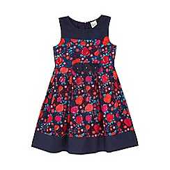 Yumi Girl - blue Rose Printed Cotton Day Dress