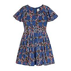 Yumi Girl - blue Floral Check Print Day Dress