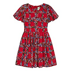 Yumi Girl - Red Floral Check Print Day Dress