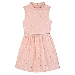 Yumi Girl - pink Collared Cat Print Dress