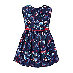 Yumi Girl - blue Butterfly Printed Pleat Dress