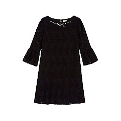 Yumi Girl - black Embellished Lace Funnel Sleeve Shift Dress