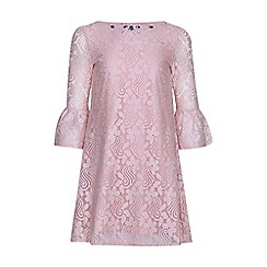 Yumi Girl - pink Embellished Lace Funnel Sleeve Shift Dress