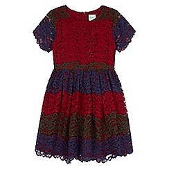 Yumi Girl - Purple Floral Lace Striped Dress