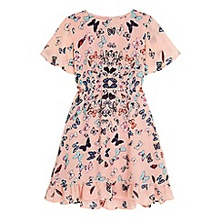 Yumi Girl - Pink Floaty Butterfly Printed Day Dress