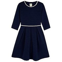 Yumi Girl - blue Heart Textured Skater Dress