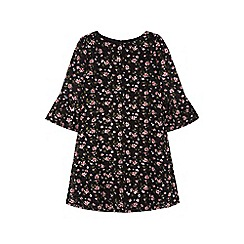 Yumi Girl - black Funnel Sleeve Floral Lace Dress