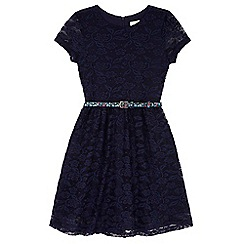 Yumi Girl - Blue Belted Lace Skater Dress
