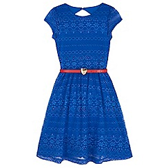 Yumi Girl - Blue Lace Belted Dress