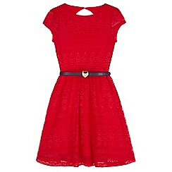 Yumi Girl - Red Lace Belted Dress