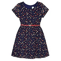 Yumi Girl - Blue Floral Print Lace Dress